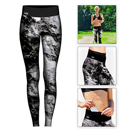 Formbelt® Damen Laufhose mit Tasche lang - leggins stretch-hose hüfttasche für Smartphone Iphone Handy Schlüssel (Marmor, S)
