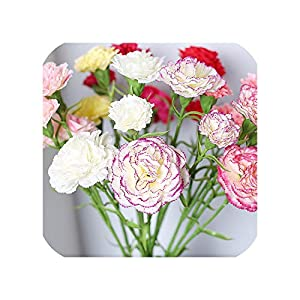 Real Feeling Carnation Flower Bouquet Artificial Fake Flower Branch Home Wedding Party Holiday Decoration DIY 7