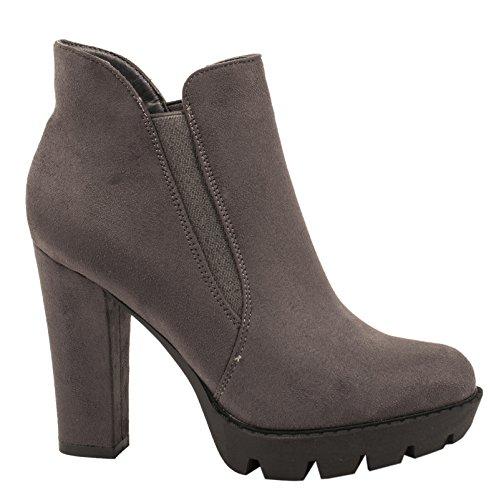 Elara Damen Ankle Boots| Plateau Schlupf Stiefelette | Blockabsatz Profilsohle Grau Wildleder