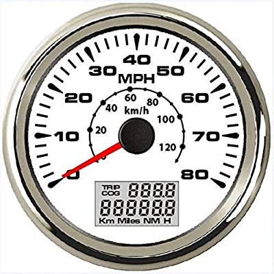 ELING Universal GPS Speedometer Odometer 80MPH 120KM/H with ODO COG Trip 7 Backlights 85mm 12V 24V: Automotive