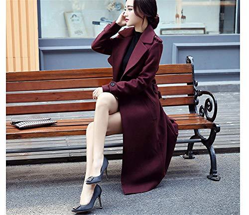 Manches Élégant Transition Poches Vent Chic Button Manteau Rot Revers Parker D'extérieur Coupe Vêtements Manche Femme Mode Chaud Latérales Longues De Uni Battercake Wein q8Ux57IwAn