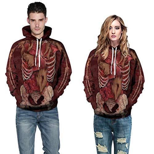 Jessie storee Helloween Hooded Sweatshirt Skeleton Minced Meat Internal Organs Print Pullover Hoodie Women Men Couples Unisex Horror Clothing Large Size Sweater Loose Baseball Uniform Tide,Red,XL
