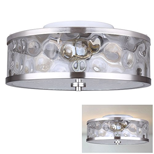 Flush Mount 3 Light Ceiling Fixture Watermark Glass Drum, Brushed Nickel