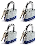Elitexion Heavy Duty Laminated Steel Padlock, Commercial Grade Keyed Alike 2-Inch (Pack of 4)