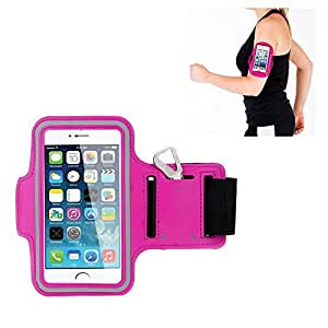 WenBelle For Apple iPhone6 (4.7 Inch) Sport Armband - EASY FITTING - Running sleeve Arm Bands Armband Pouch WITH KEY HOLDER - Cover fashion Breathable Waterproof Sweat-proof Neoprene Armband Case Velcro Closure - with Free screen protector (hot pink)