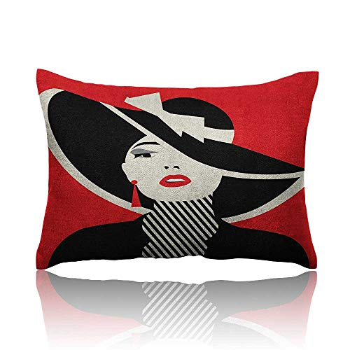 Anyangeight Girls Small Pillowcase French Style Icon in Shabby Chic Classical Vintage Hat and Striped Coat Design Print Zipper Pillowcase 20