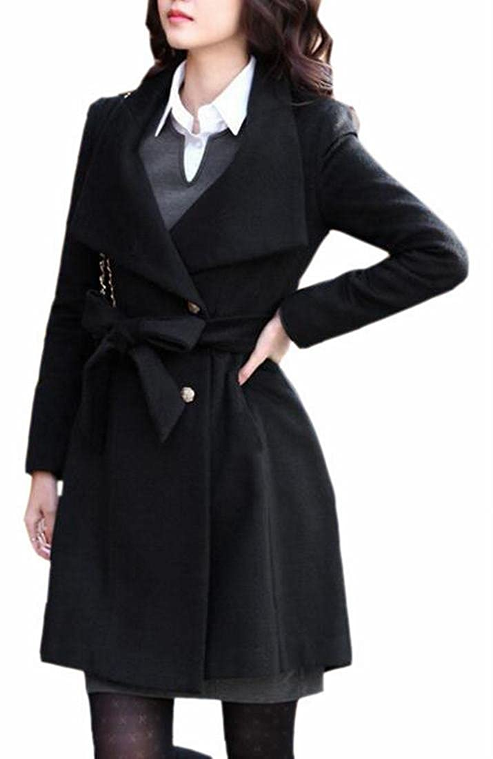 0762b9b72f7 Amazon.com  CBTLVSN Women s Button Solid Lapel Long Trench Coat Woolen  Jacket  Clothing