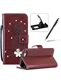 Strap Leather Case for iPhone 7,Diamond Wallet Cover for iPhone 8,Herzzer Stylish 3D Crystal Flower Brown Pineapple Print Magnetic Stand Case with Soft TPU