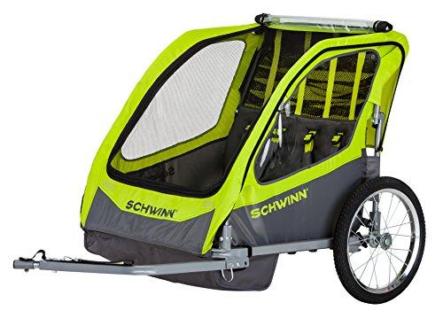 Schwinn Caribou Double Bike Trailer, Lime Green