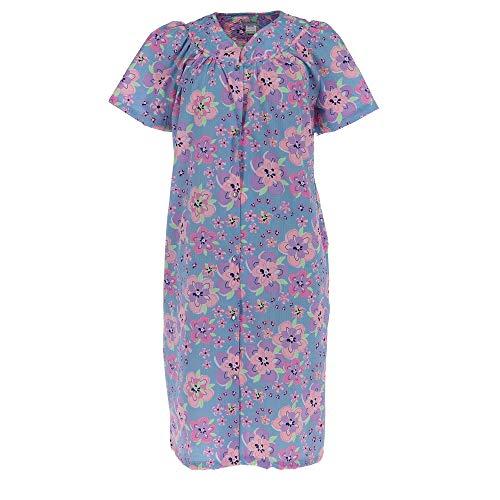 Elegant Emily Women's Floral Print Snap Front Duster Robe, Medium, Purple (Floral Print Wrap Robe)