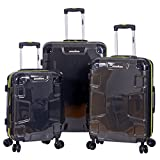 "IRONMAN Hard Side 3 Piece 20"" 24"" 28"" Upright Expandable Spinner Luggage Set (Charcoal)"