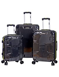 "IRONMAN Hard Side 3 Piece Including 20"" 24"" 28"" Upright Expandable Spinner Luggage Set (Charcoal)"