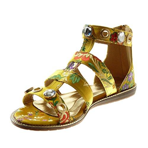 Sandalen Bestickter 1 Absatz Schmuck Angkorly Blumen Knöchelriemen cm Gladiator Schuhe flacher Gelb 5 Damenmode HwSqpE