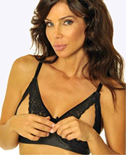 Peek A-boo Bow (Empire Intimates Lace Peek-a-Boo Bra Open Cup Bare Breasts Nipples - BLACK - 38)