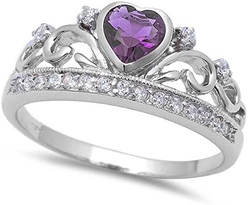 Simulated Amethyst & Cz Crown .925 Sterling Silver Ring Sizes 4-11