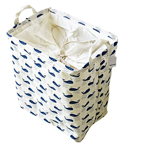 Doitsa Large Laundry Basket Folding Waterproof Drawstring Square Whale Patern Laundry Hampers Laundry Bin / laundry Basket / Storage Solution Toy Collection