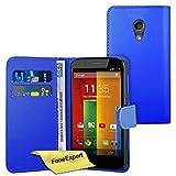 Moto G 2nd gen Case, FoneExpert® Premium Leather Flip Book Wallet Case Cover For Motorola Moto G 2nd gen (2014) + Screen Protector & Cloth (Blue)
