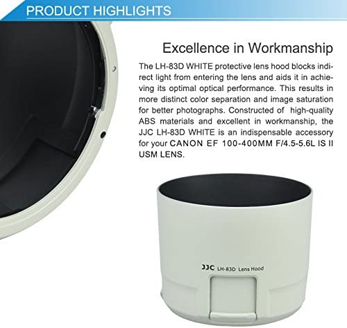 JW LH-83D White Reversible Lens Hood Shade with Filters Adjustment Function for Canon EF 100-400mm f//4.5-5.6L is II USM Lens Replaces Canon ET-83D+JW Cloth