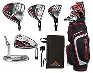 PlayBetter Cobra Golf Men's XL Complete Set (2018 Version) Bundle with Cobra Microfiber Caddie Towel Club Cleaning Brush | 12-Piece, Ultimate Set of Clubs, Graphite Shafts (Black/Red)