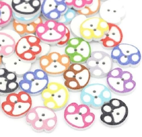 (Buttons PAW Print 2-Hole White Wood Buttons 5/8'', x 9/16'', (16mm) Scrapbook Doll (2513))