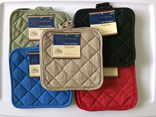 5 (FIVE) Sets of The Home Store Cotton Pot Holders, 2-ct. Color Variety Pack Kitchen Cooking Chef Linens by Greenbrier ()
