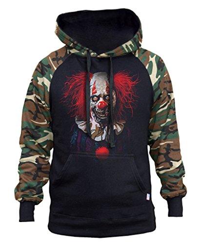 Interstate Apparel Men's Zombie Clown Black/Camo Raglan Baseball Hoodie 2X-Large Black ()