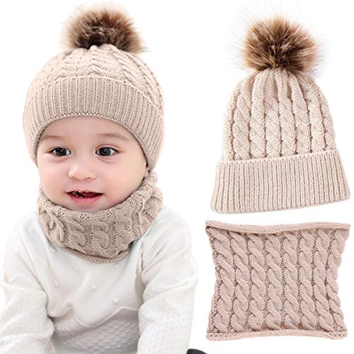 Knitting Earflap Pattern Hat - Yinuoday 2PCS Toddler Baby Knit Hat Scarf Winter Warm Beanie Cap with Circle Loop Scarf Neckwarmer