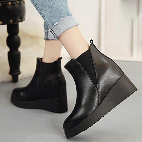 TPulling Mode Stylische Damen stiefeletten Knöchelhohe Stiefel Bottom Stiefel innerhalb der modischen Martin Stiefel Fersen Schuhe Schwarz