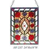 HF-237 Vintage Tiffany Style Stained Glass Church Art Noble Flowers Window Hanging Glass Panel Suncatcher, 24''x18''