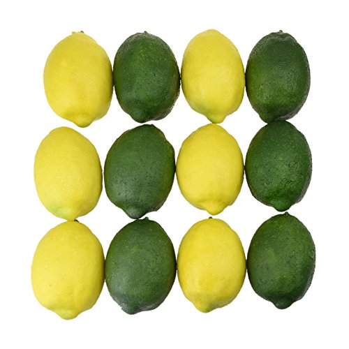 NKTM 12 Pieces Artificial Lifelike Lemon Realistic Decorative Fake Fruit Simulation Home Kitchen Decoration Yellow and Green by NKTM