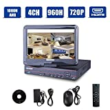 4CH 1080N AHD DVR/Onvif 720P 1080P Hybrid NVR/960H CCTV Network Security DVR 3 in 1 w/ 10.1inch LCD Monitor P2P QR Scan Easy Setup Phone Remote View HDMI Output Motion Detection(Black,No HDD) Review