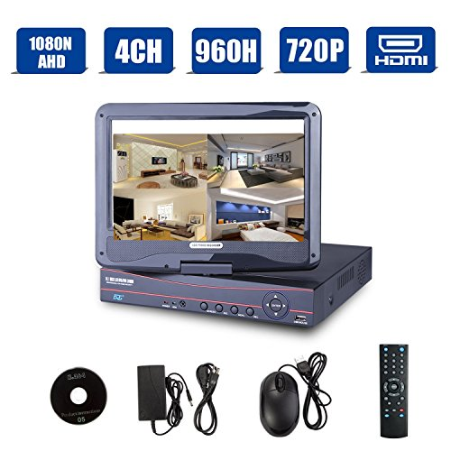 4CH 1080N AHD DVR/Onvif 720P 1080P Hybrid NVR/960H CCTV Network Security DVR 3 in 1 w/ 10.1inch LCD Monitor P2P QR Scan Easy Setup Phone Remote View HDMI Output Motion Detection(Black,No HDD)