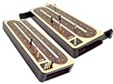 4 continuous track cribbage board / pegging board Wood Inlaid with Sliding Lids