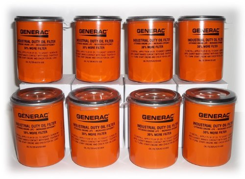 Generac Oil Filter 070185E 8 Pack Extended Life, Oil Filter is 30% Longer, 30% More Capacity (Oil Filter 070185e compare prices)
