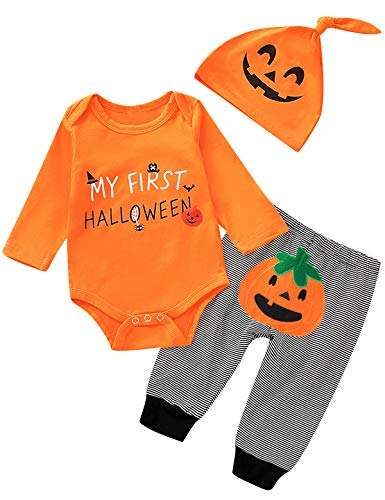 Aslaylme Baby Boys My First Halloween Outfits Newborn Pumpkin Costume Clothes Set (Orange,0-3 ()