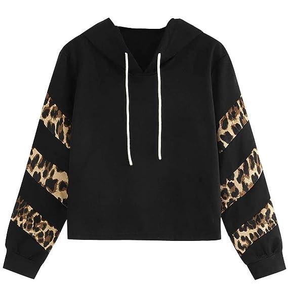 Luckycat Sudaderas con capucha de Manga Larga con Estampado de Leopardo Manga Larga Top Blusa para Adolescentes Mujer Chicas Niña: Amazon.es: Ropa y ...