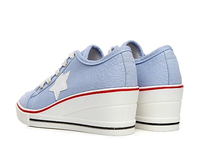 b3eaeb6ede4 Wealsex Mujer Lona de La Cuna de Tacon Cerrado Deporte Zapatos Cordones 6  cm Zapatos de Lona de Las Cuñas: Amazon.es: Zapatos y complementos
