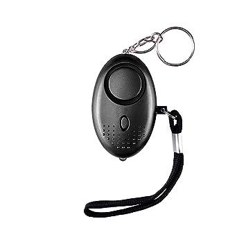 Alarma Personal,130DB Alarma Seguridad Autodefensa con Luz LED Ataque de pánico Llavero Alarma para Mujeres, Niños, Ancianos, Turno Nocturno(Negro)