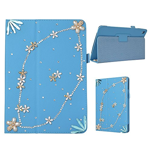 Spritech(TM) Fashion Tablet Bling Case For iPad Pro 9.7 inch 2016 Release,PU Leather Wallet Slim Fold Cover 3D Handmade Bling Rhinestone Design Tablet Cover Blue
