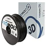 Professional Black 1.75mm PLA 3D Printer Filament, 1kg (2.2lb) Filament Weight, +/- 0.05mm Tolerance, by ProMolt 3D