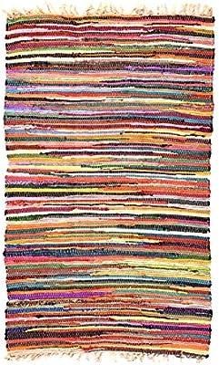 Hermosa alfombra multicolor Chindi Rag, comercio justo de Second Nature, algodón, Multi Colours, 120 cm x 180 cm: Amazon.es: Hogar