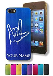 Apple iphone 5s Case/Cover - I LOVE YOU SIGN LANGUAGE - Personalized for FREE (Click the CONTACT SELLER button after purchase and send a message with your case color and engraving request)