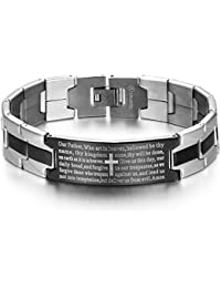 Men's Vintage Stainless Steel Black Cross Silver English...