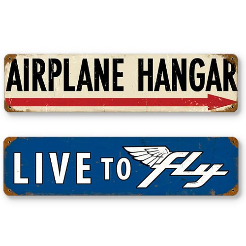 - Aviation and Flight Tin Metal Sign Bundle - 2 Pilot Signs, 24 Gauge Steel: Airplane Hangar & Live to Fly, Each Sign: 20 x 5 inches