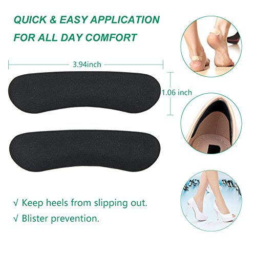 High Heel Pads (8 pcs) - High Heel Inserts, Heel Shoe Inserts, Heel Grips, Heel Cushion Inserts, Metatarsal Foot Pads, Heel Snugs for Women - Blister Prevention & Improve Shoes Too Big (Black) by GENTEE (Image #4)