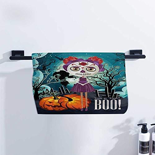 Halloween Towel Cartoon Girl with Sugar Skull Makeup Retro Seasonal Artwork Swirled Trees Boo for Family Guest Bathrooms Gym W23 x L8 -