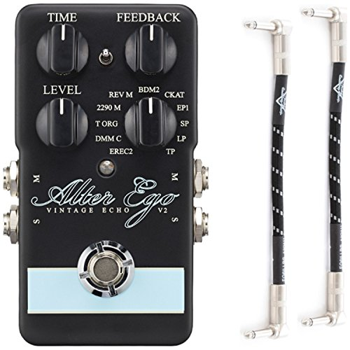 TC Electronic 960750101 Alter Ego V2 Vintage Delay and Looper Pedal for Electric Guitar with R-Angle Patch Cables by TC Electronic