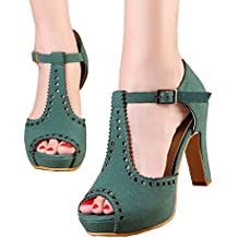 getmorebeauty Women's Vintage Suede Ankle T Straps Dress Block Heeled Sandals Shoes