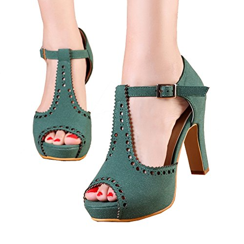 (getmorebeauty Women's Green Vintage Suede Ankle T Straps Dress Block Heeled Sandals Pumps 8 B(M) US)