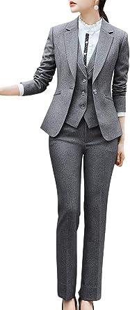 Mujer Formal tres piezas sólido Blazer Trajes de un botón Oficina ...